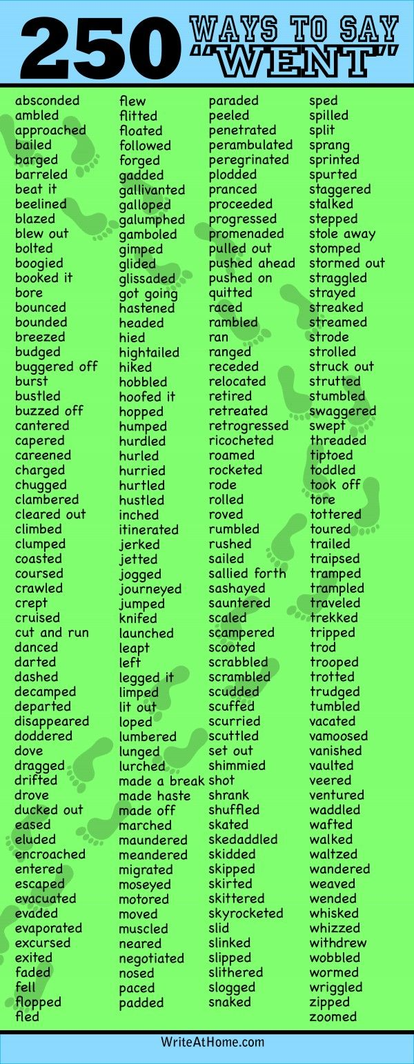 "250 Ways To Say ""Went"" by blog.writeathome: Alternatives to the world's 'blandest' verb. #Went"