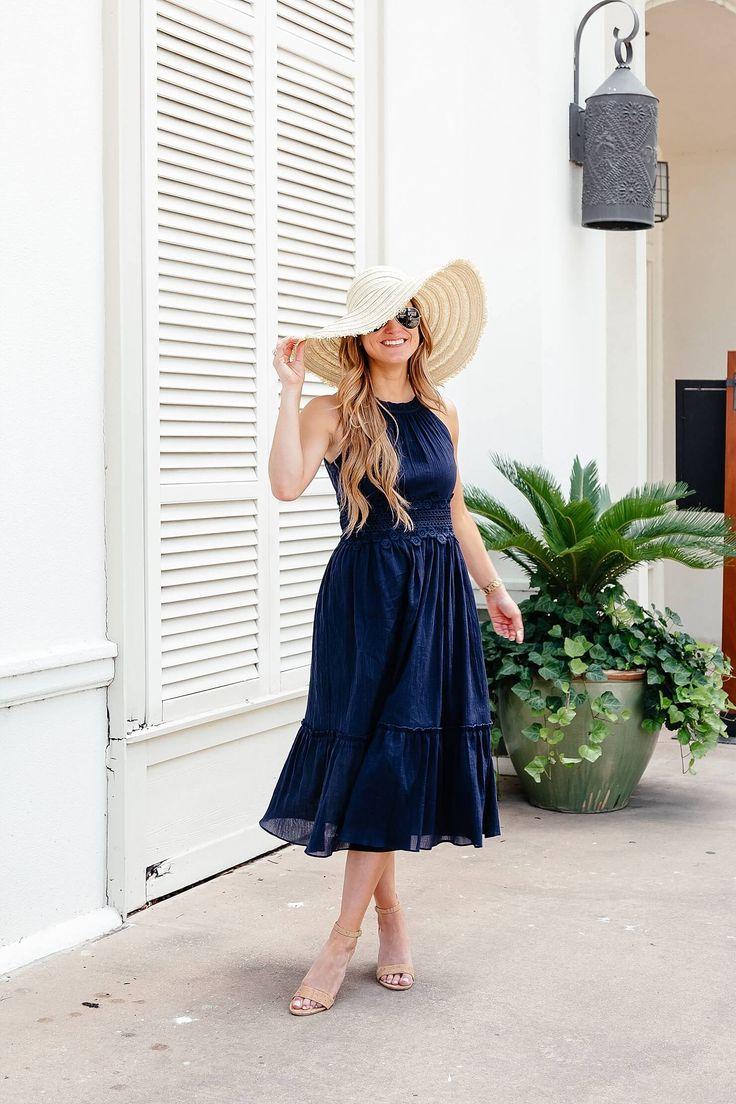 navy midi dress, feminine summer outfit, summer dress with sun hat, casual summer dress outfit