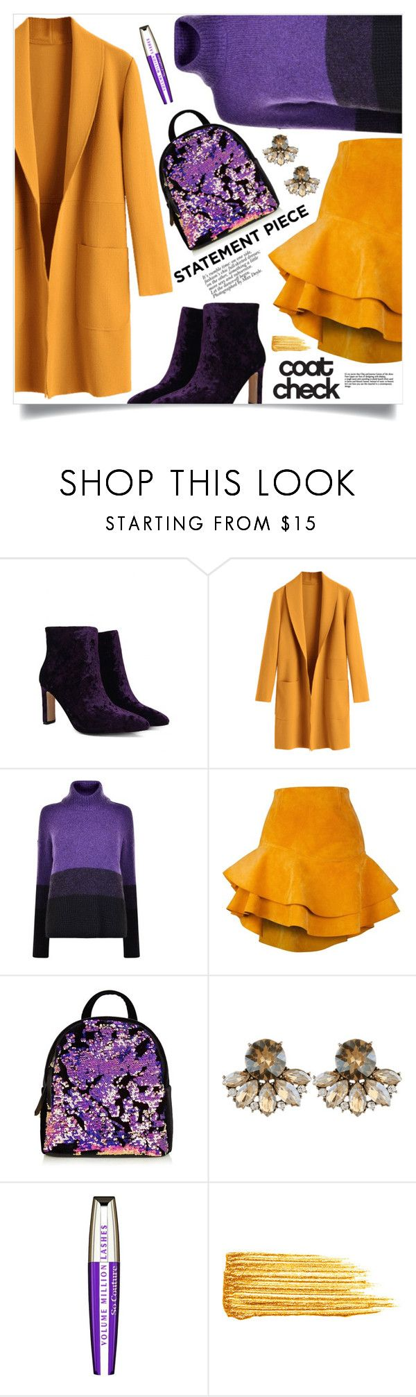 """Go Bold: Statement Coats"" by mahafromkailash ❤ liked on Polyvore featuring BOSS Orange, Siobhan Molloy, L'Oréal Paris and Yves Saint Laurent"