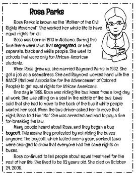 Black History Month: Rosa Parks Reading Comprehension Passage and ...