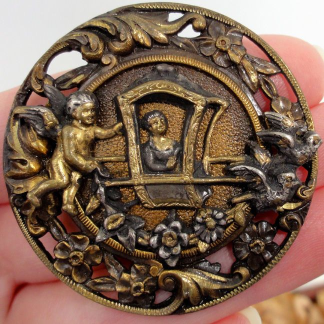ANTIQUE PICTURE BUTTON~ WOMAN in SEDAN Drawn By CUPID + BIRDS~ STUNNING! RARE!!