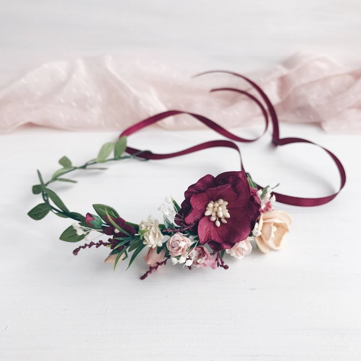 Child Burgundy Flower crown, Flower girl, Floral crown, Rustic child flower crown, Child floral crow