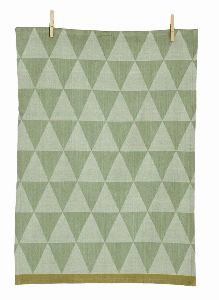 Ferm Living Theedoek Mountain Mint groen katoen geweven 50x70cm