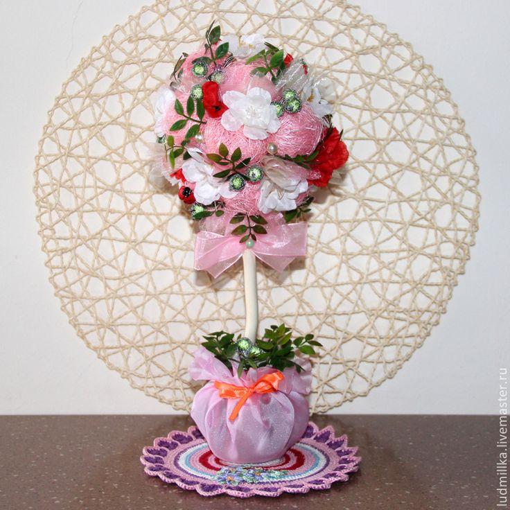 """Купить Топиарий """"Розовые цветы"""" - топиарий, топиарий дерево счастья, европейское дерево, свадебные аксессуары"""