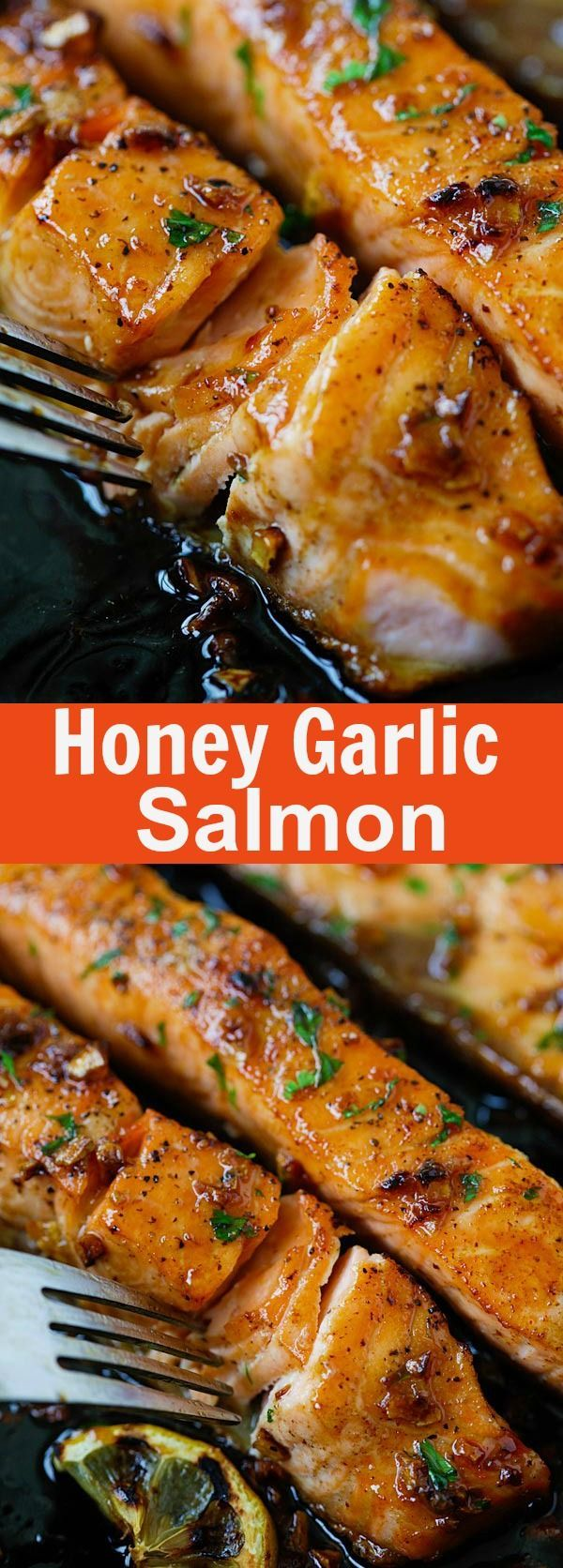 Honey Garlic Salmon Honey Garlic Salmon – garlicky, sweet and sticky salmon with simple ingredients. Takes 20 mins, so good and great for tonight's dinner | rasamalaysia.com