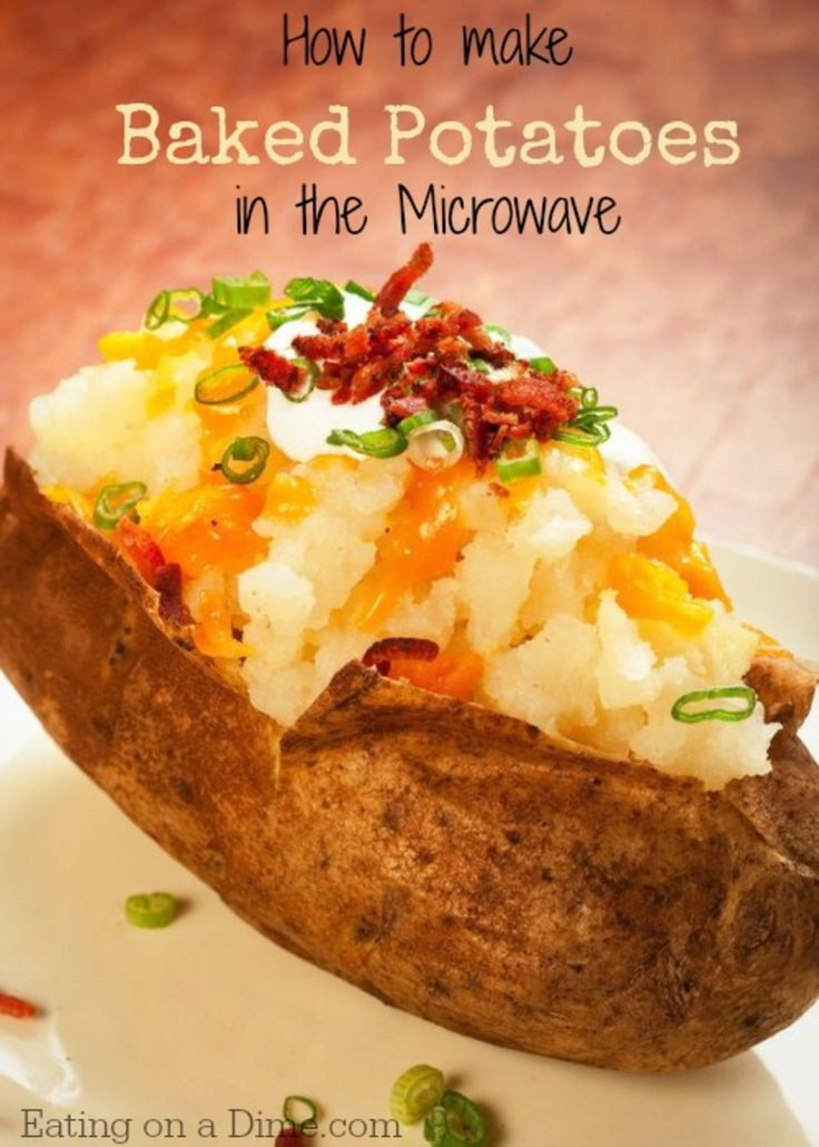 Don't heat up that kitchen! Instead of baking your potatoes make the same delicious baked potatoes in the microwave! http://eatingonadime.com/baked-potatoes-in-the-microwave/