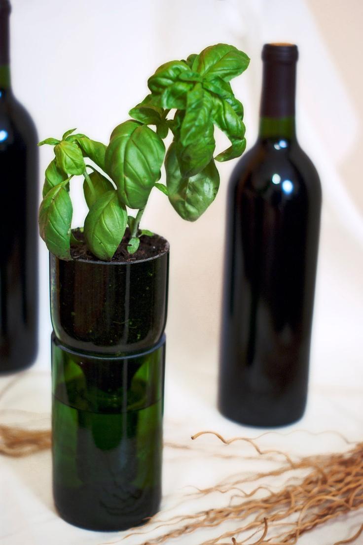 Upcycled Wine Bottle Hydroponic Planter. $20.00, via Etsy ...