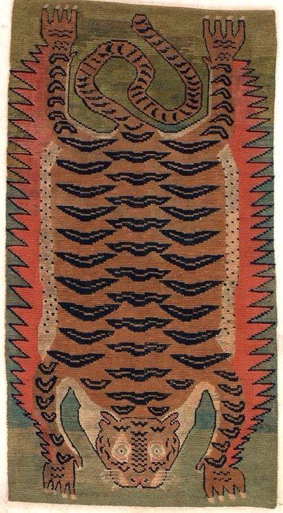 19th Century Tibetan Tiger Rug