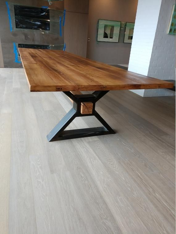 The executive conference table made of recycled oak and modern industrial metal … #WoodWorking