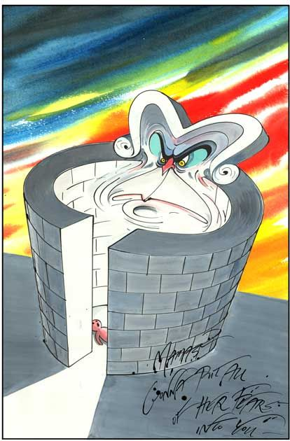 """""""Mama's gonna put all of her fears into you"""" - lyrics from Pink Floyd's """"Mother"""" (album: The Wall), artistically realized by Gerald Scarfe."""