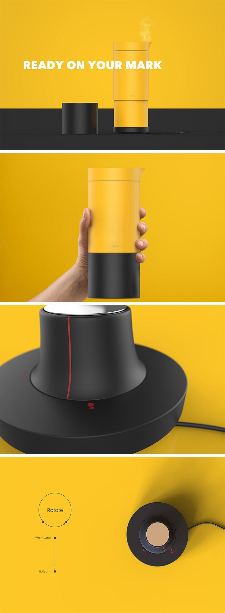 The 10FF flask kettle features a miniature hob that gives it the ability to adjust temperature.