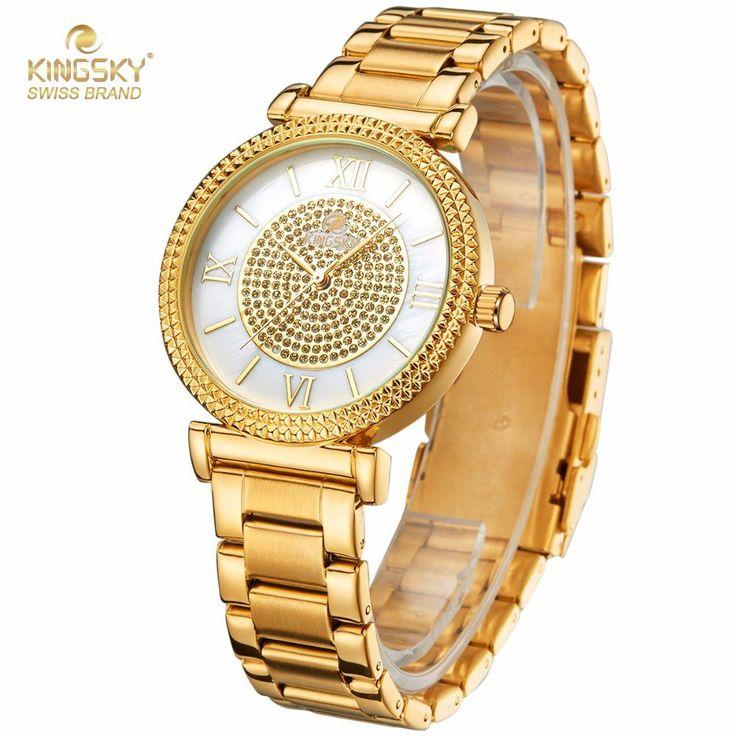 SANDA Luxury Rhinestone Stainless Steel Quartz Bracelet Watch