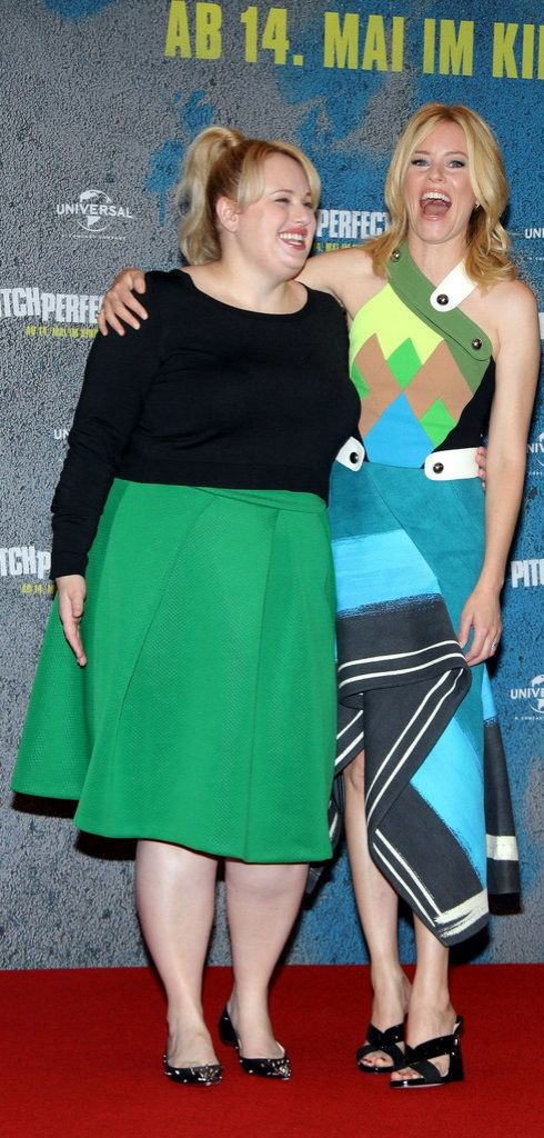 Rebel Wilson and Elizabeth Banks had a blast colorblocking each other on the Pitch Perfect 2 red carpet.