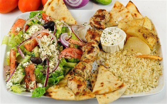 Cena del pollo Souvlaki (1 pincho) - Griego en el Pueblo / otomana