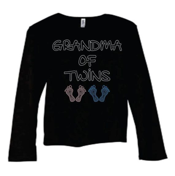 bling shirt for Grandma of twins in short sleeve or long sleeve or for mommy to be on Etsy, $49.00