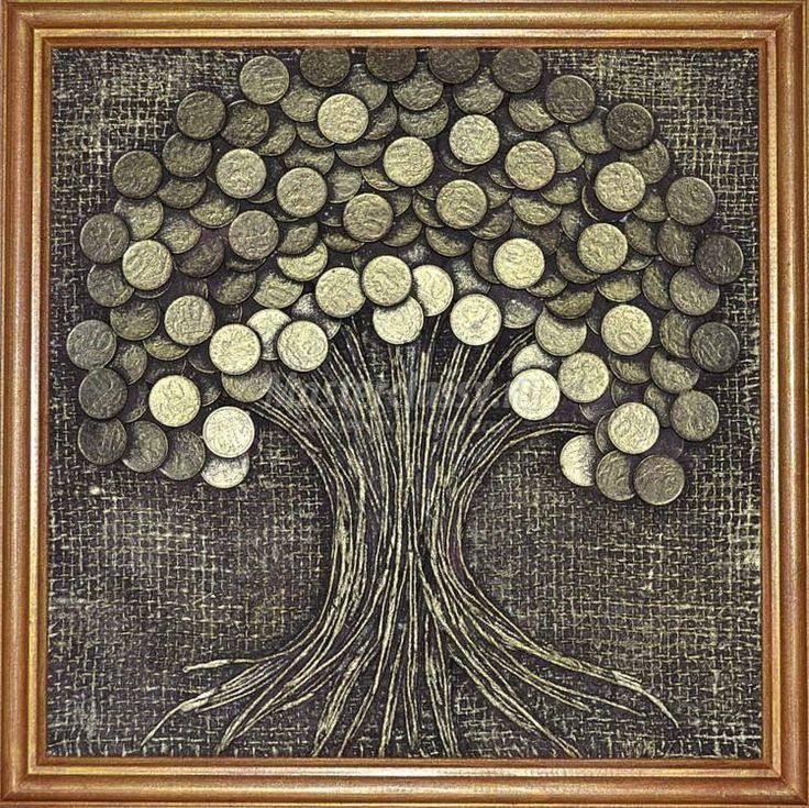 Панно из монет. Денежное дерево. Мастер-класс с пошаговыми фото