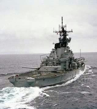 Stern view of the battleship USS New Jersey (BB-62) during sea trials after being modernized in 1982.
