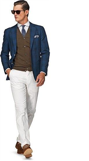 Cotton Linen Blend Blue Check Copenhagen Jacket