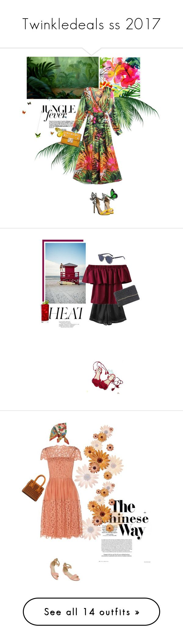 """""""Twinkledeals ss 2017"""" by stellina-from-the-italian-glam ❤ liked on Polyvore featuring Gabor, dress, summerstyle, summerdress, shorts, flats, ruffles, offshoulders, Loewe and lace"""