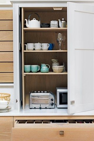 Great idea for concealing kitchen appliances