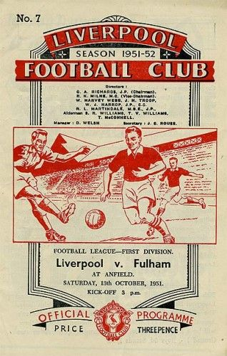 Liverpool vs Fulham 13.10.1951