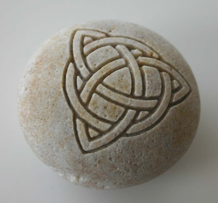 Trinity Knot Engraved White Stone Celtic Love