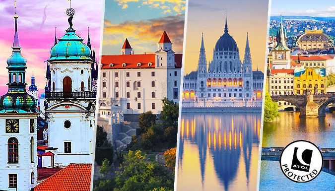 UK Holidays: Prague + Vienna + Bratislava + Budapest, 4-City Break: 8 Nights With Flights, Hotels and Transfers for just: £299.00 See some of Eastern Europe's finest cities with a 4-city, 8-day extravaganza of a holiday.      Have 2 nights in each city, with train transfers between each adventure      Party amid the baroque buildings and nightlife in Prague at Hotel Gloria      Next up, head...