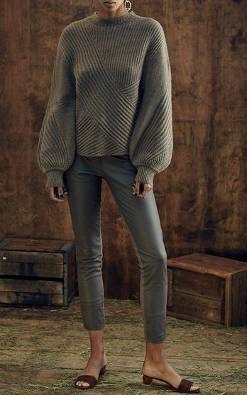 Azede Jean-Pierre Ribbed Merino Pullover $500, Camel Leather Ponte Combo Pant $720