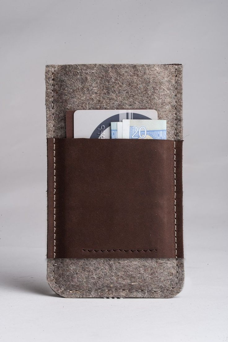 Leather iPhone Case With Card Pocket | Wood Brown back