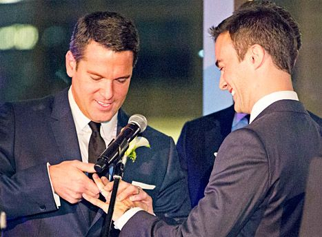 MSNBC's Thomas Roberts and his longtime love Patrick Abner exchanged vows over the weekend in NYC, making Roberts the first cable news anchor to marry someone of the same sex.