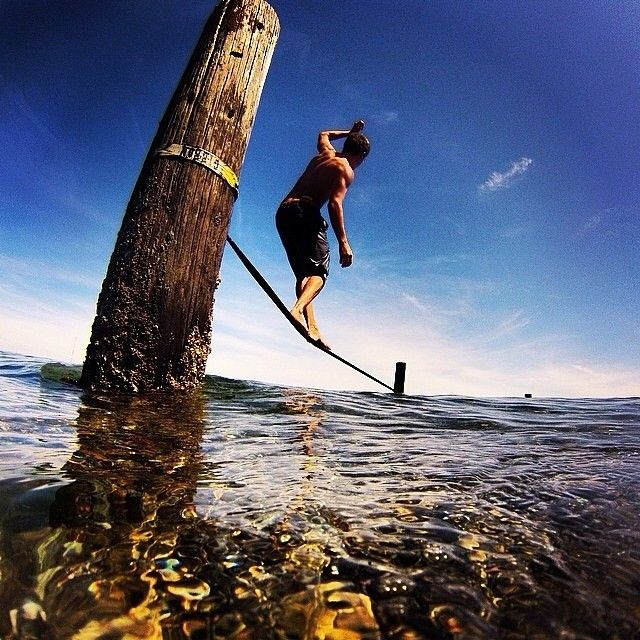 Summer time! Photo credit: @macadoodle1 #slackline #REI1440Project #BlakeIsland