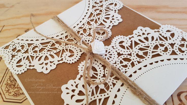 DIY wedding invitation Kit. RUSTIC lace invitation. DIY invites lace design w kraft card & envelopes x50. Christening, birthdays invitation. by InvitationsbyTango on Etsy