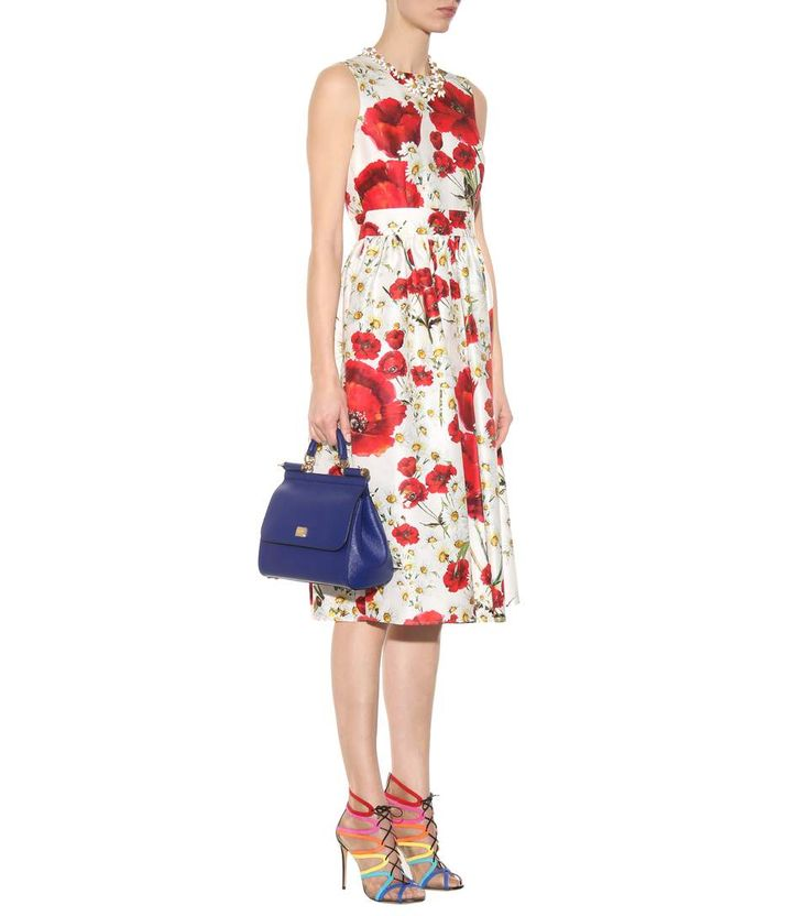 Printed cotton and silk dress