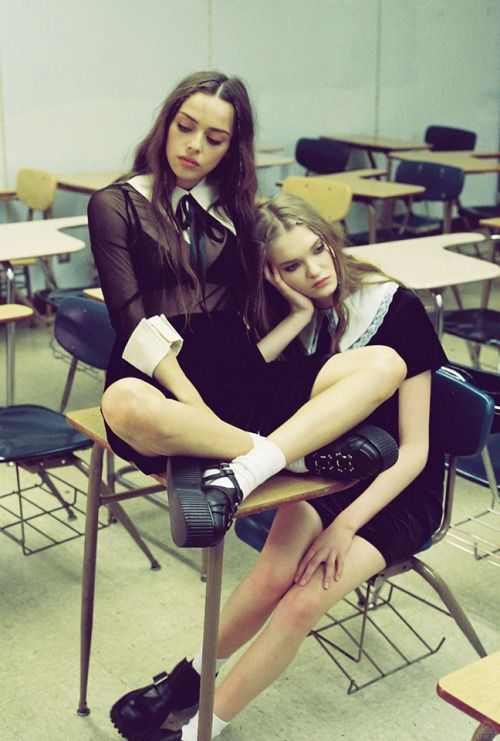 """FASHION: UNIF's 'Sigh, School' Lookbook  Derek Perlman photographs Abby Williamson and Charlotte Jane, styled in UNIF's signature grunge inspired looks for their latest skool suks inspired """"Sigh, School"""" lookbook."""