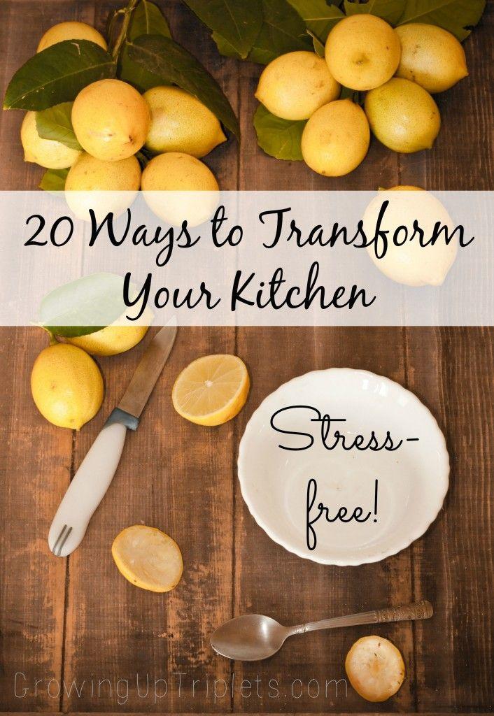 20 Ways to Transform Your Kitchen, Stress-free!  www.GrowingUpTrip... #kitchen #diy