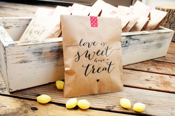 SALE  Kraft Paper Favor Bags  Love is Sweet have a Treat by mavora