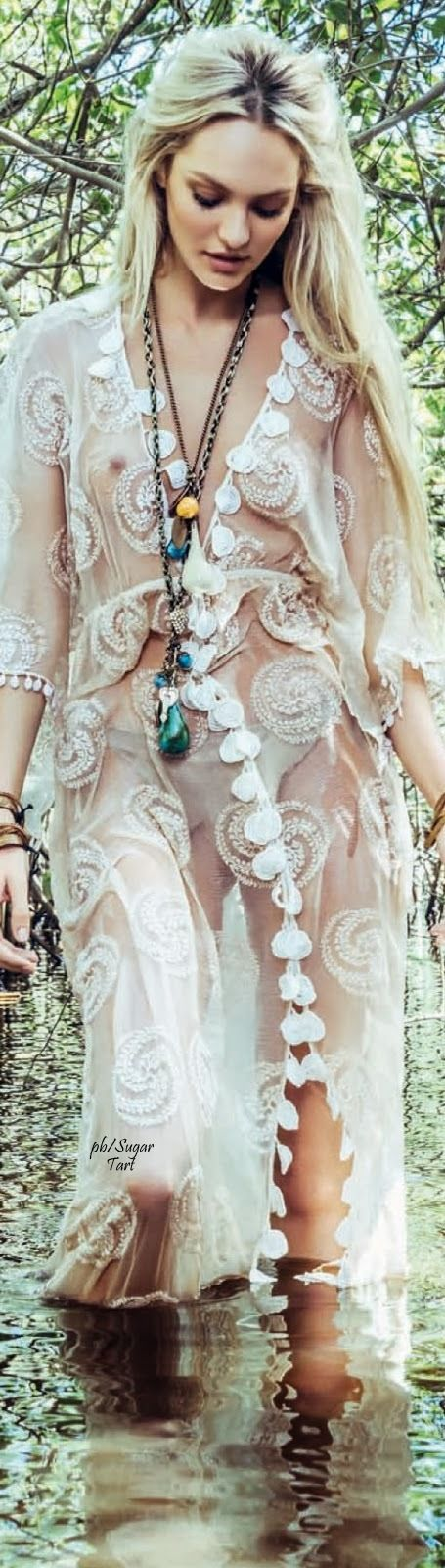 Boho chic sheer kimono with modern hippie long layered necklaces. For the BEST Bohemian fashion trends FOLLOW https://www.pinterest.com/happygolicky/the-best-boho-chic-fashion-bohemian-jewelry-gypsy-/ now