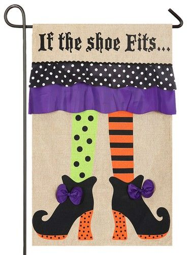 Halloween witch themed burlap garden flag featuring heavily printed, bright…