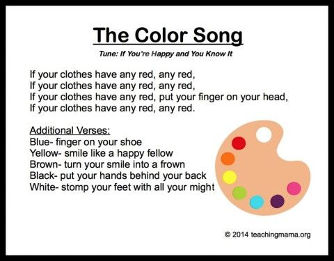 Color song, this is great!  Several color songs that are printable