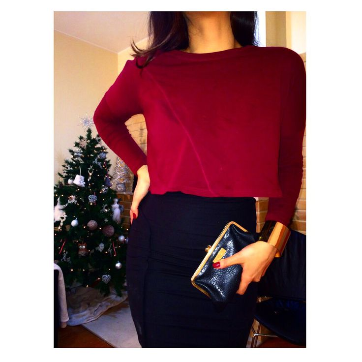 The color of The season. Winter style.  Cranberry Zara top + black pencil skirt from Zara and Calvin Klein clutch  Love it! By Yandra Vitorio