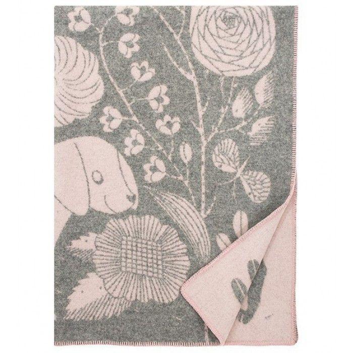 KOIRA JA KISSA Wollen Plaid 130 x 180 Grijs Rosa