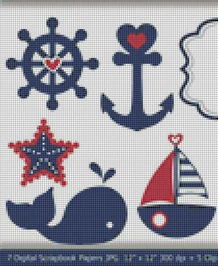 Ocean cropunto de cruzss stitch.