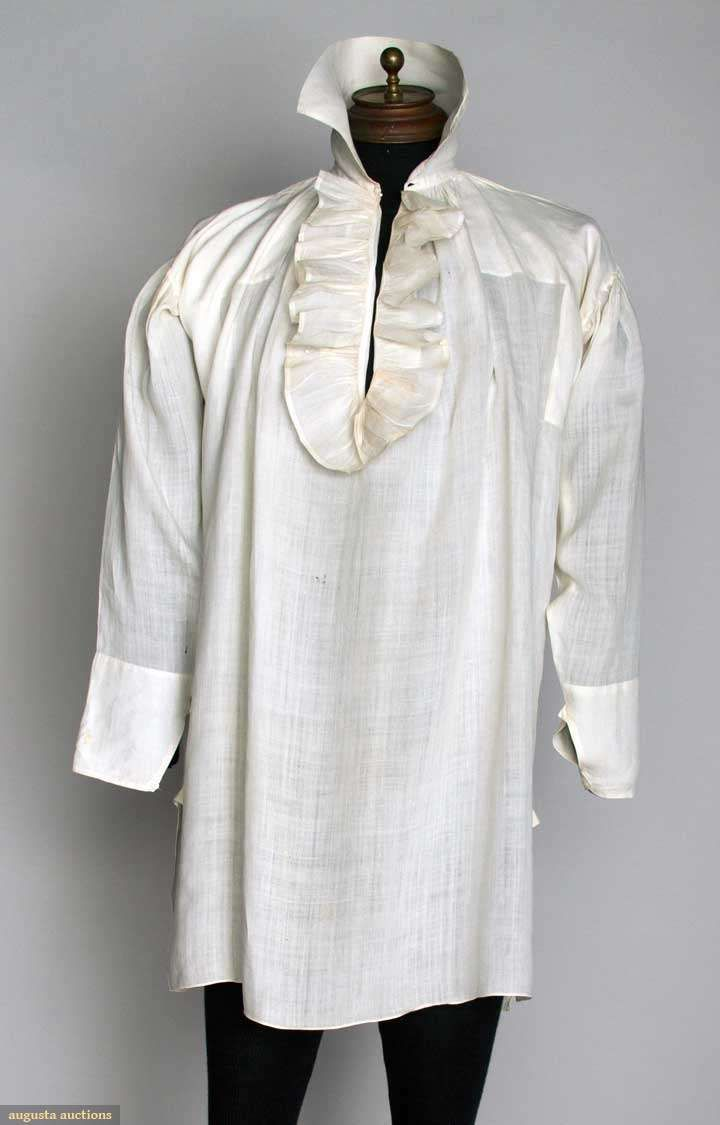"""MAN'S FINE LINEN SHIRT, 1790-1810  Lot: 181 November 13, 2013 - NYC New York City White linen, CF ruffled opening, high stand collar, L 35"""", (few small holes in back) very good.  Price Realized: $ 1800.00 Category: Gents Era: 1800-1850 29.13410.100.181"""