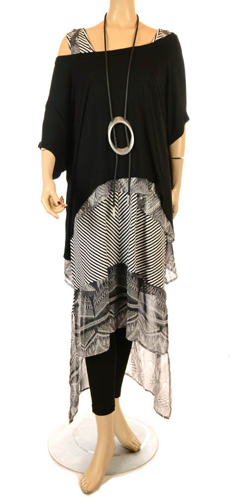 Mat Black Easy Asymmetric Overlay Top  Check out our amazing collection of plus size dresses at http://wholesaleplussize.clothing/