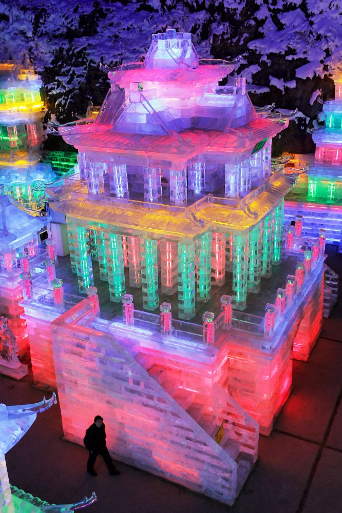 Rainbow City made of ice at the Yanqing Ice Festival