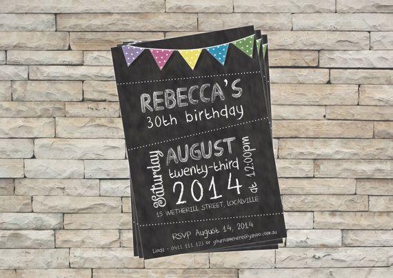 Birthday Invitation Blackboard or Chalkboard - Personalised & Printable on Etsy