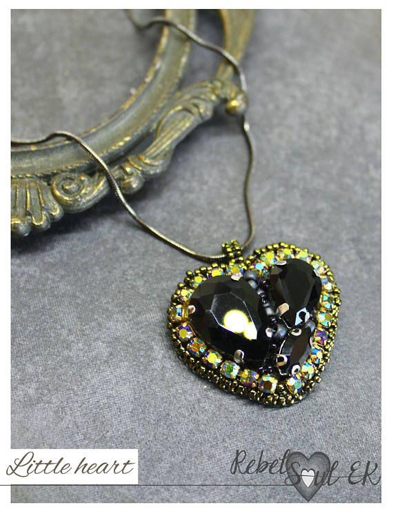 Crystal heart charm pendant seed beads pendant black heart