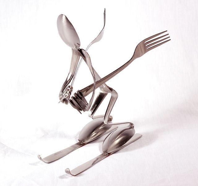 Spoon Art Skier Spoon and Fork Art Sculptures
