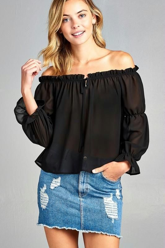 4a1d62be66b96 Women s Puff Long Sleeve Ruffled Front Tie Off Shoulder Top Black Small   MarcelleMargaux