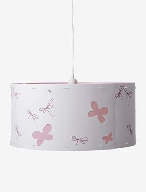 This lampshade gives out soft light and brings a soft feel to little child's bedrooms!SIZE:  height: 25cm  diameter 50 cm.Polypropylene lampshade covered in fabric printed with dragonflies. Butterfly cut-outs. Available in 2 colours: white and pink.  WHAT YOU NEED TO KNOW: Self-assembly. Maximum bulb wattage E27-60W (not included). Cable and socket not supplied  available separately.  Self-assembly. For the safety of children  please respect the wattage of bulbs indicated. ;